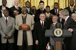 Riley and the Miami Heat with President George W. Bush, February 2007
