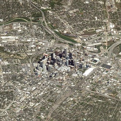 Aerial view of central Houston, showing Downtown and surrounding neighborhoods