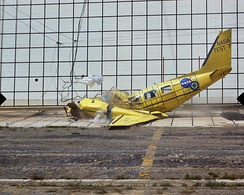 Piper PA-31 Navajo airframe used for crash testing by NASA after a 1972 flood inundated Piper's factory