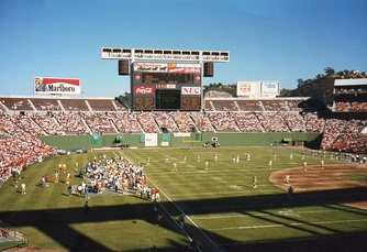 The San Diego Chargers hosting a pre-season game against the Los Angeles Rams at San Diego Jack Murphy Stadium in 1987.
