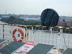 An LRAD sound cannon mounted on RMS Queen Mary 2