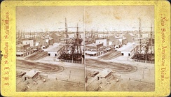 Long Wharf in Boston, United States, c. 19th century, jutting into Boston Harbor