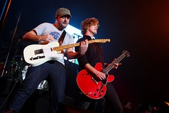 Matt Hoopes (left), and Matt Thiessen (right) performing with Relient K