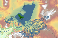 Lake Megachad, with present-day Lake Chad highlighted in green