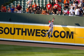 Trout robs J. J. Hardy of a home run, June 27, 2012.