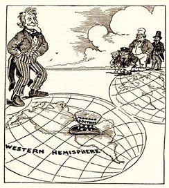 A 1912 newspaper cartoon highlighting the United States' influence in Latin America following the Monroe Doctrine.