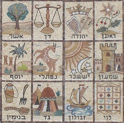 Mid-20th century mosaic of the 12 Tribes of Israel, from the Etz Yosef synagogue wall in Givat Mordechai, Jerusalem