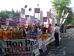 Ron Paul supporters outside of the debate location