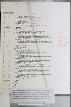 A printout of the SGML markup used in the computerization of the OED, showing pencil annotations used to mark corrections.