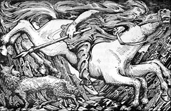 The Norse god Odin, carrying the spear Gungnir on his ride to Hel