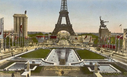 The Pavilion of Nazi Germany (left) faced the Pavilion of Stalin's Soviet Union (right) at the 1937 Paris Exposition.
