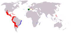 Map of the territories come under the Spanish monarch during the Iberian Union.