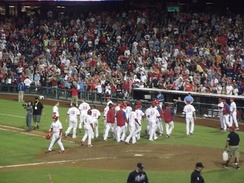 The Phillies celebrate after Freddy Galvis hits a walk-off home run on September 7, 2013