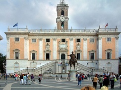 Cola di Rienzo stormed the Capitoline Hill in 1347 to create a new Roman Republic. Though short-lived, his attempt is recorded by a 19th-century statue near the ramped Cordonata leading to Michelangelo's Piazza del Campidoglio.