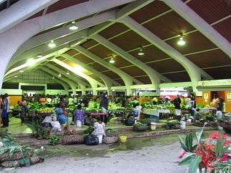 A market hall in Port Vila