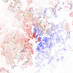 Map of racial distribution in Washington, D.C., 2010 U.S. Census. Each dot is 25 people: White, Black, Asian, Hispanic or Other (yellow)
