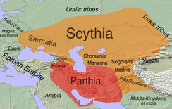 Geographical extent of Iranian influence in the 1st century BC. Scythia (mostly Eastern Iranian) is shown in orange.