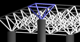 Simplified space frame roof with the half-octahedron highlighted in blue