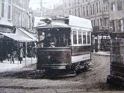 A single-deck car in Fore Street, c.1910
