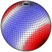 B. This view shows same potential from 180° from view A. Viewed from above the Northern Hemisphere. Red up, blue down.