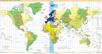 UTC+01:00: blue (January), orange (July), yellow (all year round), light blue (sea areas)