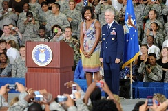 Obama and General Charles R. Davis smile to the crowd before speaking on her mission to help military families, October 2009.