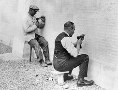 Carving the names into the Canadian National Vimy Memorial
