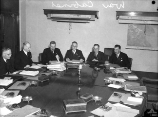 War Cabinet meeting in Melbourne in 1943. Left to right: John Curtin, Sir Frederick Sheddon, Ben Chifley, 'Doc' Evatt, Norm Makin, Arthur Drakeford