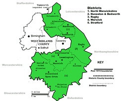 The ancient county boundaries of Warwickshire covered a larger area than the county in 1974 (in green).