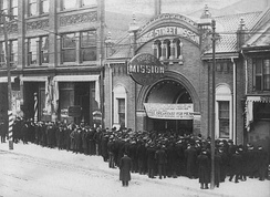 Food line at the Yonge Street Mission, 381 Yonge Street, Toronto, Ontario, Canada in the 1930s