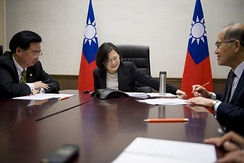 Tsai Ing-wen, President of Taiwan (centre), makes a phone call to US President-elect Donald Trump on 2 December. Also pictured were Joseph Wu, Secretary-General of National Security Council (left), and David Lee, Minister of Foreign affairs (right).