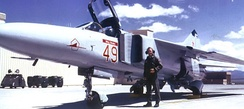 """Red 49"" MiG-23 on the Tonopah ramp, 1988"
