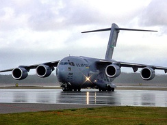 A C-17 Globemaster III taxi's during Crisis Look 2004, an exercise at the Alpena Combat Readiness Training Center here 16 October. The aircraft is assigned to the 62nd Airlift Wing at McChord Air Force Base, Washington