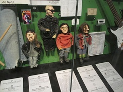 Alice in Chains' claymation dolls on display at the Rock and Roll Hall of Fame museum.