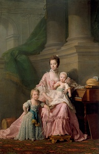 George (left) with his mother Queen Charlotte and younger brother Frederick. Portrait by Allan Ramsay, 1764