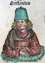 The Nuremberg Chronicle (1493) shows ancient Greek philosopher Aristotle in scholar's clothing of the book's time, 1,800 years too modern for Aristotle
