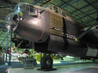 Avro Lancaster R5868 in the Bomber Hall of the RAF Museum London