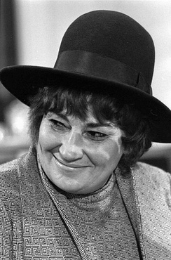 Representative Bella Abzug at press conference for National Youth Conference for '72, November 30, 1971