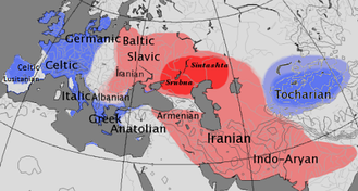 Map showing the approximate extent of the centum (blue) and satem (red) areals.