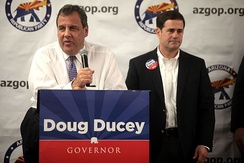Governor Chris Christie campaigning with Arizona gubernatorial candidate Doug Ducey in 2014