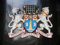 Coat of arms of the City of Westminster, a part of London which has its own city status.