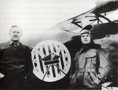 "American volunteers, Merian C. Cooper and Cedric Fauntleroy, fighting in the Polish Air Force as part of the Polish 7th Air Escadrille, known as the ""Kościuszko Squadron"", 1920"