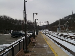 Denville Station's Montclair-Boonton specific platform. The Morristown Line platform is visible to the left