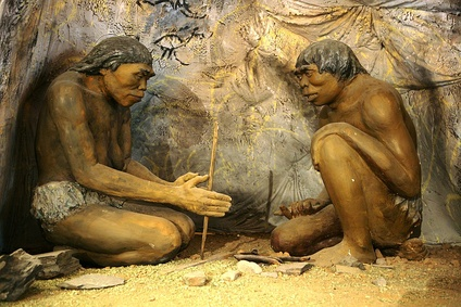 A diorama showing Homo erectus, the earliest human species that is known to have controlled fire, from inside the National Museum of Mongolian History in Ulaanbaatar, Mongolia.