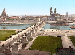 Image of Dresden during the 1890s, before extensive World War II destruction. Landmarks include Dresden Frauenkirche, Augustus Bridge, and Katholische Hofkirche.