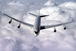 An E-8C Joint Surveillance Target Attack Radar System from the 93d Air Control Wing flies a refueling mission over the skies of Georgia.