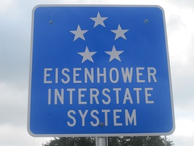 Eisenhower Interstate System sign south of San Antonio, Texas