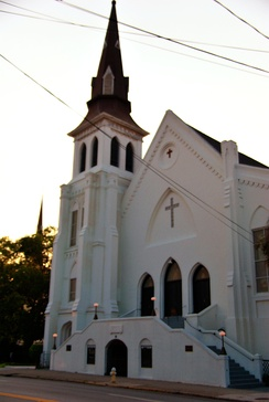 The Emanuel African Methodist Episcopal Church where nine blacks, including the pastor, were killed in the 2015 Charleston church shooting. The church had been rebuilt after one of the church's co-founders, Denmark Vesey, was suspected of planning a slave rebellion in Charleston in 1822; 35 people, including Vesey, were hanged and the church was burned down.[76]