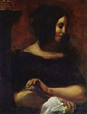 George Sand sewing, from Delacroix's joint portrait of Chopin and Sand (1838)