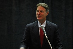 Bayh speaking at an event during the 2012 Democratic National Convention